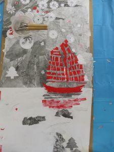 Le bateau en papiers découpés