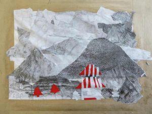 Collage de papiers grisés au crayon à papier