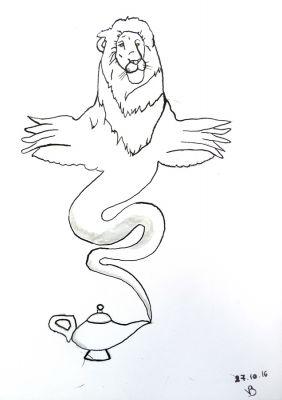 Un lion ailé sort de la lampe