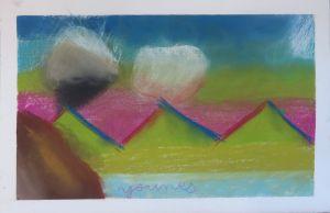 Montagnes vertes sur ciel rose