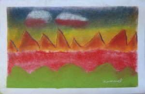 Paysage flamboyant au pastel sec
