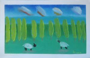 Campagne verdoyante et moutons