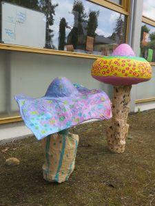 Deux champignons dans le jardin de l'école