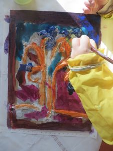 Mise en couleur du tableau en plâtre