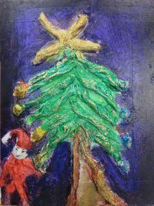 Un sapin de Noël en bandes platrées