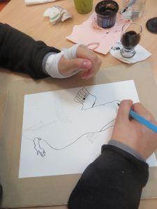Atelier dessin à l'hôpital