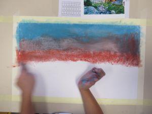 Peindre avec des pastels secs