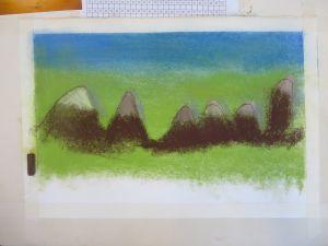 Montagnes au milieu des prairies