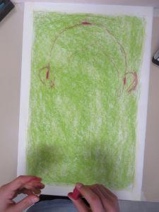 Fond vert avec des pastels