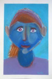 Portrait au visage bleu