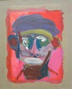 Autoportrait sur fond rouge