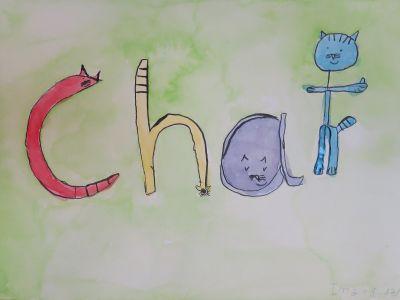 """Le mot """"chat"""" illustré"""