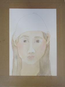 Visage peint à l'aquarelle