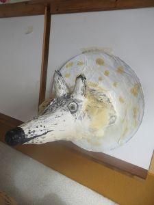 Tête de loup en papier mâché