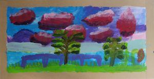 Paysage aux nuages rouges