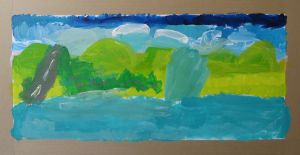 Peindre un paysage avec les enfants