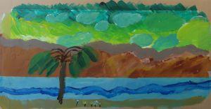 Palmier et ciel vert