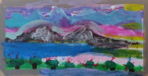 Montagnes noires sur ciel rose