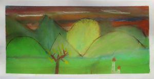 Paysage aux collines vertes