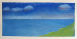 Paysage maritime réalisé avec des pastels secs