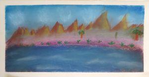 Montagnes et plage rose