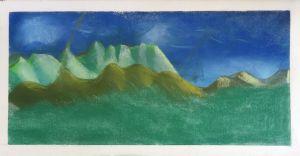 Montagnes vertes peintes par un enfant
