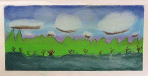 Peinture réalisée par un enfant à l'école