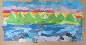 Petit paysage en papiers colorés