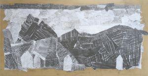 Paysage en papiers grisés