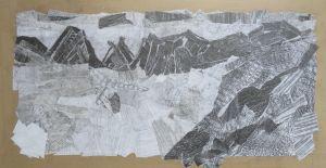 Paysage en papier décirés et collés