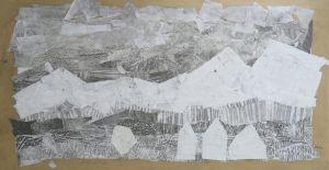 Fragments de papiers grisés au crayon à papier