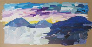 Paysage en papier de couleur