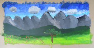 Paysage peint à l'acrylique