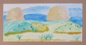 Paysage peint avec de l'aquarelle