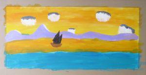 Océan doré peint à l'acrylique