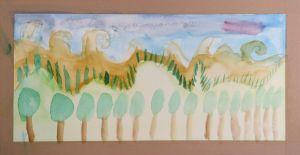 Dunes peintes à l'aquarelle