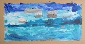 Océan peint à l'acrylique