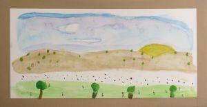 Paysage peint par un enfant de CM1/CM2