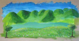 Paysage peint à l'école