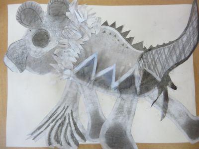Créature imaginaire en collage
