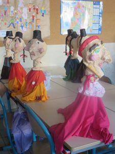 Marionnettes en objets de récupération et papier mâché