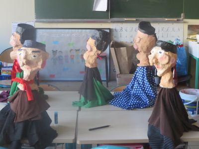 Marionnettes de Guignol en papier mâché réalisées par les enfants