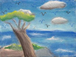 Paysage de mer au pastel tendre