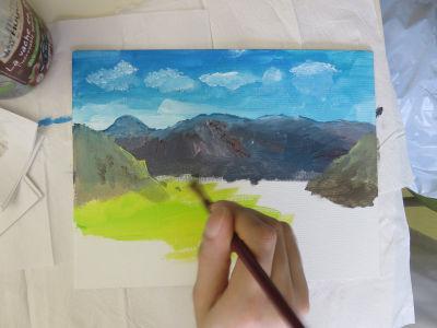 Paysage à la peinture acrylique