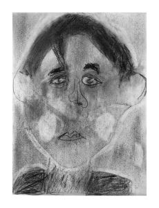 Autoportrait au crayon et à la gomme