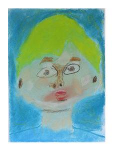 Autoportrair sur fond bleu