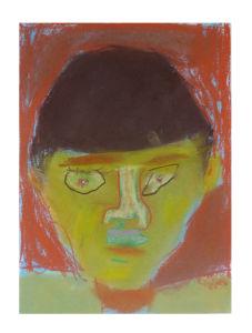 Autoportrait au pastel sur papier Ingres