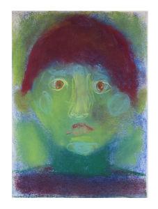 Autoportrait d'enfant au pastel