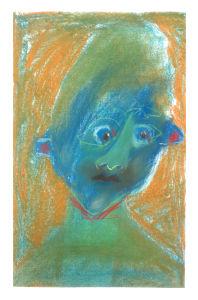 Autoportrait au visage bleu