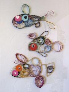 Famille de poissons colorés